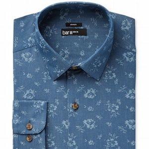 Bar III-Denim Blue XL (17-17 1/2) Slim Dress Shirt